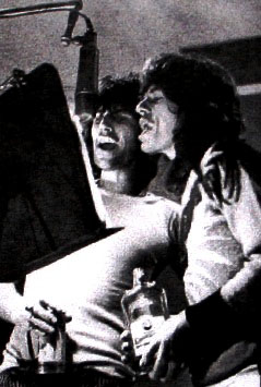 BOURBON BUDDIES: Keith Richards and Mick Jagger in the recording studio, pic from album inner sleeve.