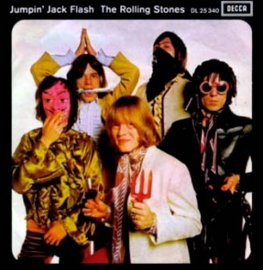The Jumpin' Jack Flash single: (from left) Bill Wyman, Mick Jagger, Brian Jones (centre) Charlie Watts and Keith Richards