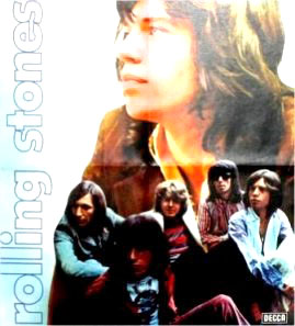 Blessed are the big heads > Let It Bleed came with a poster highlighting singer Mick Jagger > and (from left) are drummer Charlie Watts, bass player Bill Wyman, new guitarist Mick Taylor, guitarist Keith Richards and Jagger again.