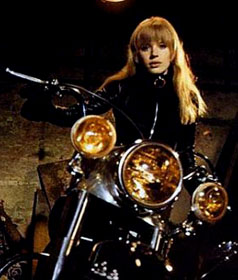 Mick Jagger's girlfriend at the time Marianne Faithfull as she appeared in the film Girl On A Motorcycle. Faithfull had a hit with the Stones penned As Tears Go By.