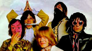 The Rolling Stones (from left) Bill Wyman in devilish mask, Mick Jagger, Brian Jones takes centre stage, Charlie Watts and sky pilot Keith Richards