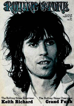 MR WASTED ELEGANCE: Keith Richards on the cover of Rolling Stone magazine, circa 1972, during the band's American tour. It was this photo and more inside the magazine, plus a lengthy interview, that went a long way to establishing Richards' rock and roll renegade persona. Before this, the focus had mainly been on Mick Jagger.
