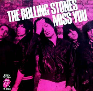 The Miss You 12-inch single, a hit on the disco floor. From left: drummer Charlie Watts in his skinhead days; Keith Richards, Mick Jagger; rockin' Ronnie Wood and bass man Bill Wyman.